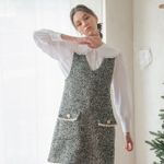 V-NECK TWEED DRESS(GREY)