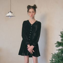 TUCK DETAIL VELVET DRESS