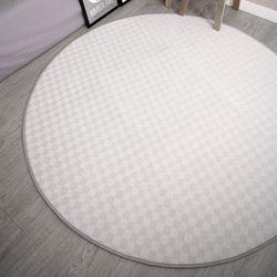 원형 면체크 화이트그레이 극세사 거실 카페트 러그 지름 150 cm