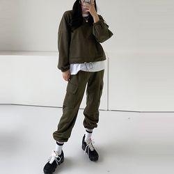 [Set] Gimo Crop Sweatshirt   Pocket Jogger Pants - 안감기모