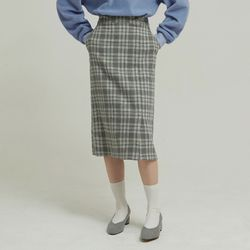 JADE CHECK SKIRT (GREY)
