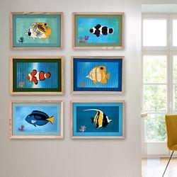 [패브릭피쉬] 액자  열대물고기 A4 시리즈 7종