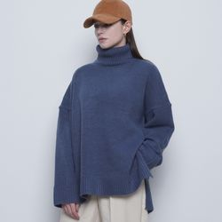 W47 mong heavy over pola knit blue