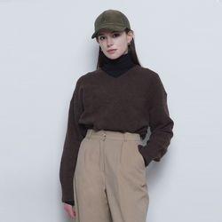 W219 tuy over v-neck knit dark brown