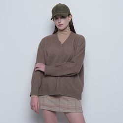 W219 tuy over v-neck knit brown