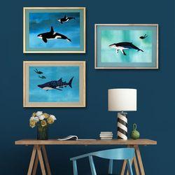 [패브릭피쉬] 액자 고래 시리즈 40x50 3종