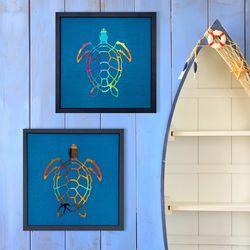 [패브릭피쉬] 액자 바다거북 시리즈 R2-30x30  2종