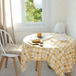 레트로 체크 망고튤립 면식탁보 테이블보 덮개