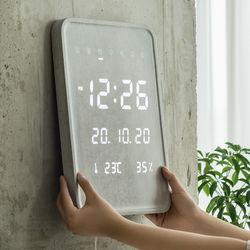 플라이토 마블우드 데일리 온습도 LED전자벽시계