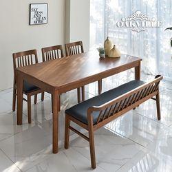 오크빌 하이오원목식탁6인용벤치세트(식탁1+의자3+벤치1)