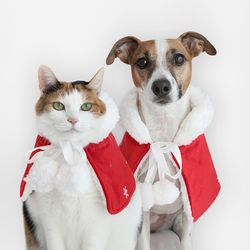 크리스마스 폼폼이 레드망토 고양이 강아지 케이프 Miyopet