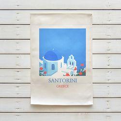 산토리니 일러스트 패브릭 포스터 . 가리개 커튼 (태피스트리)