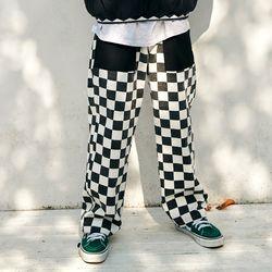 [프리키쉬빌딩] RON CHECKER LONG PANTS  BLACK