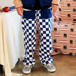 [프리키쉬빌딩] RON CHECKER LONG PANTS  BLUE