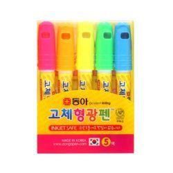 3500 동아 투명 고체형광펜 원형 5색