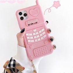 러블리 핑크 홀로그램 키링 전화기 실리콘 케이스