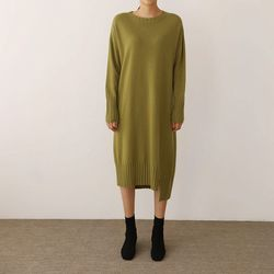 Maille Cashmere Wool Unbal Dress