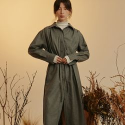 ROUND SHIRRING BELTED OPS (GREY)