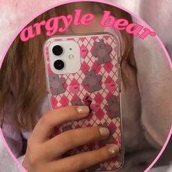 [뮤즈무드] argyle bear (clear) 아이폰케이스