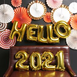 HELLO 신년 파티 장식세트 (골드)