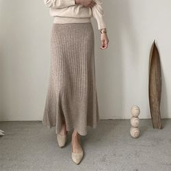 Maille Cashmere Wool Flare Long Skirt