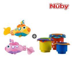누비 아기목욕장난감 2종세트(잠수함+컵쌓기놀이)