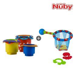 누비 아기목욕장난감 2종세트(컵쌓기 놀이+낚시놀이)