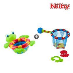 누비 아기목욕장난감 2종세트(거북이 폭포+낚시놀이)