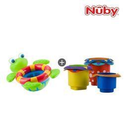누비 아기목욕장난감 2종세트(거북이 폭포+컵쌓기 놀이)