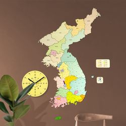 브론즈하우스 DWM-004 대한민국 지도와 무소음 벽시계