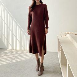 Maille Raccoon Wool Slit Long Dress