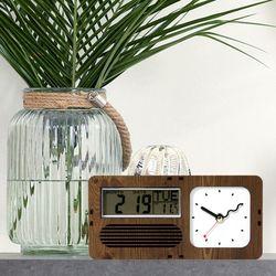 브론즈하우스 RTC-003 레트로 캘린더&온도 탁상시계(무소음)
