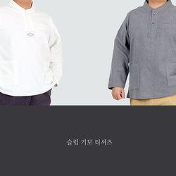 2755 남자 궁[宮] 미니 깃 이중지 기모 티셔츠 2color