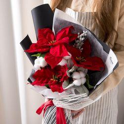 포인세티아목화꽃다발 54cmP 조화 꽃다발 선물 FMBBFT