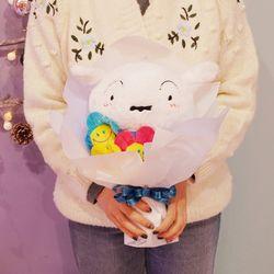 흰둥이 인형 꽃다발 생일 여자친구 졸업 선물
