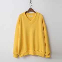 Gimo V-Neck Puff Sweatshirt - 기모안감