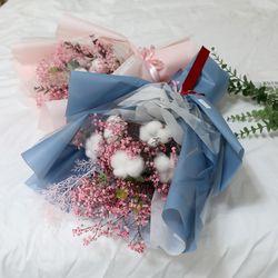 졸업식 입학 기념일 코튼플라워 안개꽃다발 대 블루