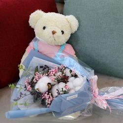 졸업식 입학 기념일 코튼플라워 안개꽃다발 중 블루