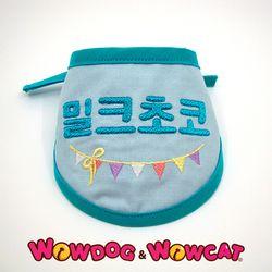 와우독 애견 자수 스카프(반원)-블루