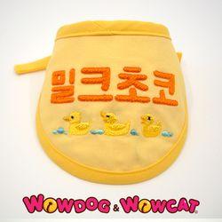 와우독 애견 자수 스카프(반원)-옐로우
