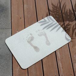 규조토 욕실 발매트 L (라이트그레이) +사포 미끄럼방지 패드