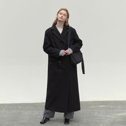 MAXI LONG DOUBLE COAT BLACK
