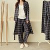 [Set] Gimo Navy Check Robe   Wide Pants - 커플룩