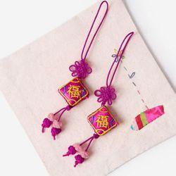 (인디고샵)자주색 작은 방석 매듭끈 (3개)