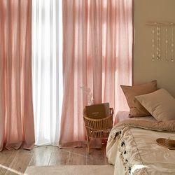 워싱 면 커튼 핑크 300x230cm