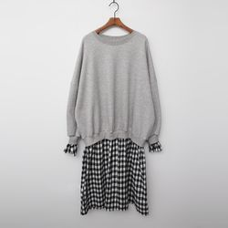 Gimo Sweatshirt Check Dress - 기모안감