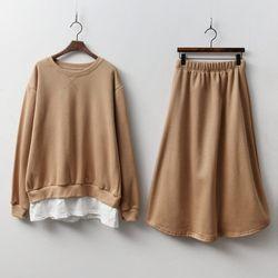 [Set] Gimo Sweatshirt   Long Skirt - 기모안감