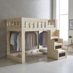 아이모 수납계단형 원목 벙커 침대 S