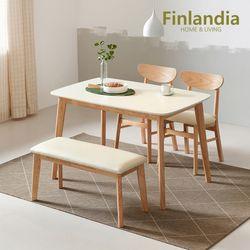 핀란디아 데니스 4인식탁세트(의자2벤치1)