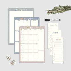 냉장고 메모보드 A4 컬러파레트 메모패드 보드마커 구성